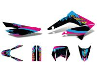decal set black-pink-blue glossy for Gilera RCR 11-17