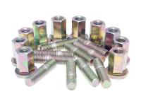 exhaust stud bolt set Naraku M8 thread incl. nuts (20mm length) - 10 pcs each